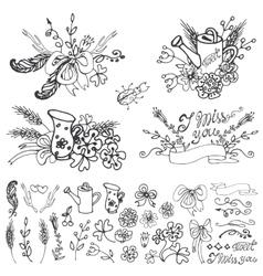 Doodle floral grouphand sketched elements set vector