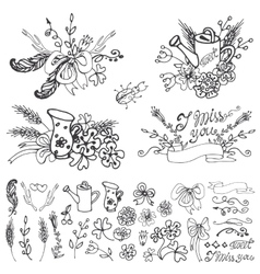 Doodle floral grouphand sketched elements set vector image vector image