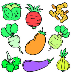 Doodle of fresh vegetable object set vector