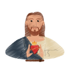 Drawing jesus christ sac heart design vector