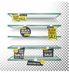empty supermarket shelves black friday sale vector image