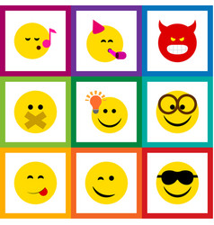 Flat icon face set of descant happy pouting and vector