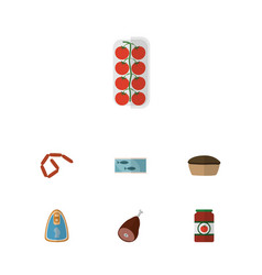 Flat icon meal set of canned chicken bratwurst vector