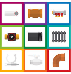 flat icon plumbing set of flange heater tap and vector image vector image