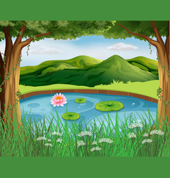 forest scene with pond and mountains vector image vector image