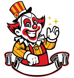 Funny clown with blank ribbon below vector