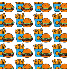 Hamburger and fries french food background icon vector
