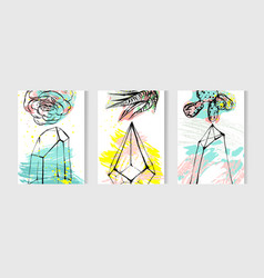 hand drawn tropical cards set collection vector image vector image