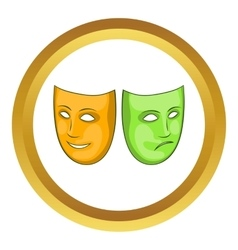 Happy and sad mask icon vector