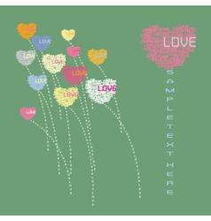 Heart flower form from love text vector image