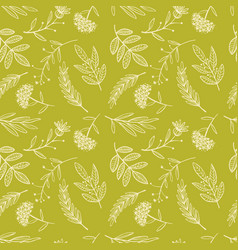Herbal sketch detox seamless pattern golden vector