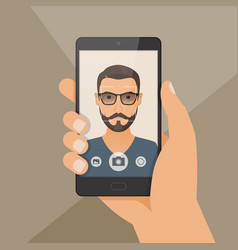 hipster bearded young man takes selfie using a vector image vector image