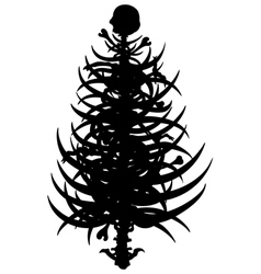 Horror christmas tree silhouette vector image