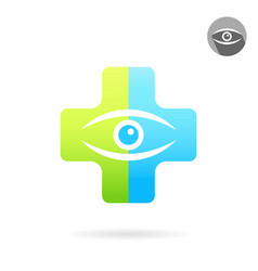 Human eye on medical multicolored plate vector
