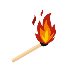 match with fire icon flat style vector image
