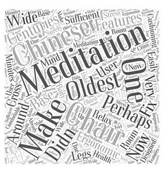 Meditation chairs word cloud concept vector