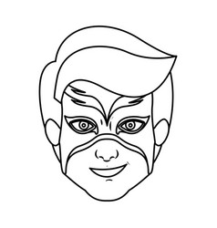 Monochrome silhouette with boy superhero with mask vector
