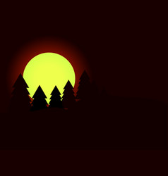 moon in the fir trees pine forest dark night vector image vector image