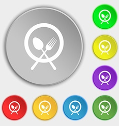 plate with cutlery icon sign Symbol on eight flat vector image