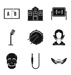 school orchestra icons set simple style vector image