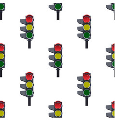 seamless pattern of red traffic lights on white vector image vector image