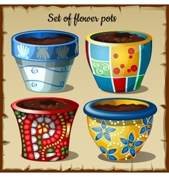 Set of four pots in the most unusual colors vector