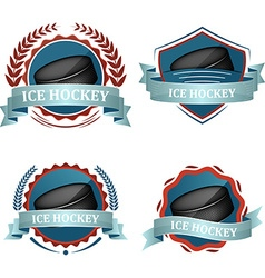 Set of ice hockey sport icons with ribbons laurel vector image vector image