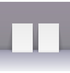 Sheets of blank paper beside the wall vector