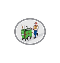 Street cleaner pushing trolley oval cartoon vector