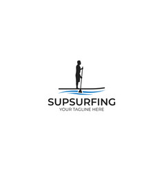 sup surfing logo template vector image