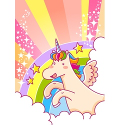 Unicorn and rainbow vector