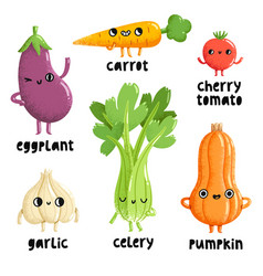 veggie characters set 1 vector image