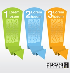 Vertical origami paper banner with numbered eps10 vector
