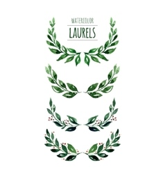 Watercolor laurels vector
