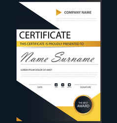 yellow black elegance horizontal certificate with vector image vector image