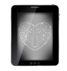 Circuit board with in heart shape pattern on vector image