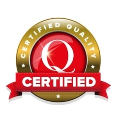 Certified quality badge with red ribbon vector