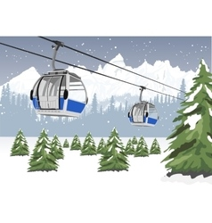 Blue cable car lift at ski resort in winter vector