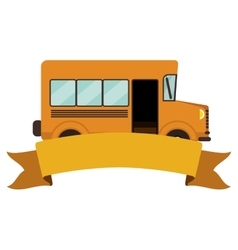 colorful silhouette school bus with ribbon vector image