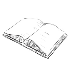 Open book sketch icon vector