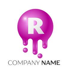 R letter splash logo purple dots and bubbles vector