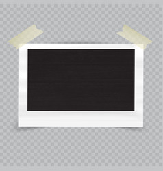 Old empty realistic photo frame with transparent vector