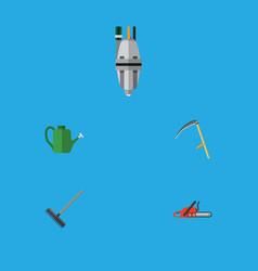 Flat icon dacha set of harrow hacksaw cutter and vector