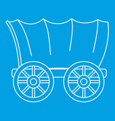 ancient western covered wagon icon outline style vector image