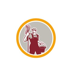 Janitor Holding Mop and Bucket Circle Retro vector image