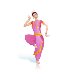 Ethnic dance of indian girl vector