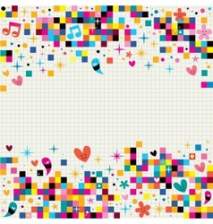 Fun pixel squares note paper background vector