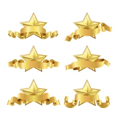 Gold five star ribbon vector