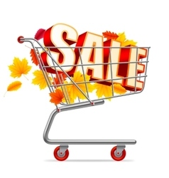 Autumn sale shopping cart vector