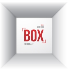 Photorealistic white open box template top view vector